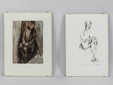 """Carro, Guglielmo (1913 - 2001). Aquarell/Mischtechnik und aquarellierte Zeichnung, """"Sitzender J"""