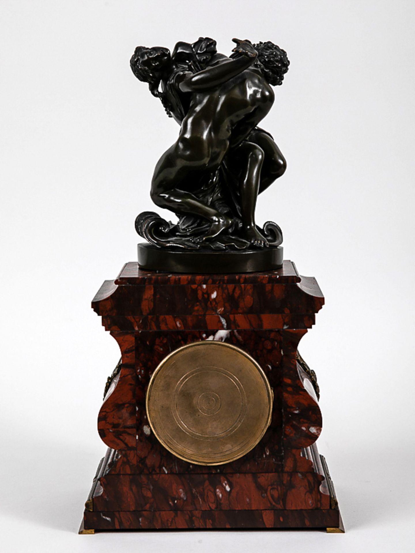 Kaminuhr mit Bronzegruppe, H. Jacquet & Fils/ Roblin, Paris, 2. Hälfte 19. Jh. Bronzeplastik i - Bild 6 aus 10