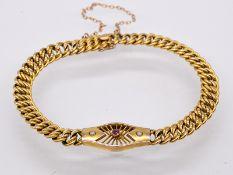 Armband mit kleinem Rubin und 2 Keshi-Halbperlen; Jugendstil.<br><br>333/- Gelbgold. Gesamtgewicht c