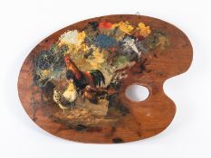 """Jutz; Carl d.Ä. (1838 - 1916).<br><br>Öl auf Holz-Palette; """"Hahn mit 2 Hennen""""; auf einer Palette in"""