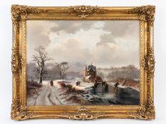 """Schelfhout; Andreas (1787 - 1870).<br><br>Öl auf Leinwand; """"Eisvergnügen in holländischer Winterland"""