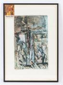 """Arno; Walter (1930 - 2005).<br><br>""""Christus am Kreuz""""; Radierung; farbig aquarelliert; unten links"""