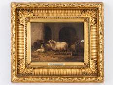 """van Leemputten; Cornelis (1841 - 1902).<br><br>Öl auf Holz; """"Stallinterieur mit Schafen und Hahn""""; 1"""