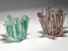 "2 Vasen ""Fazzoletti Zanfirico""; Entwurf Fulvio Bianconi; 1948; Murano/Italien; Ausführung Mitte 20."