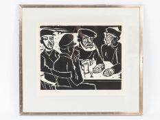 """Pechstein; Hermann Max (1881-1955).<br><br>Holzschnitt """"Fischer in der Kneipe""""; Edition Griffelkunst"""