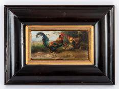 """Hänger; Max d.Ä. (1874 - 1941).<br><br>Öl auf Holz; """"Federvieh (Hahn mit 2 Hühnern in staffageartige"""