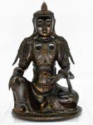 """Bronze-Plastik der """"Guan Yin""""/ Buddha; China; wohl Ming-Dynastie (1368 - 1644).<br><br>Bronze mit Re"""
