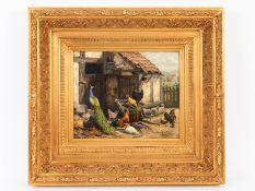 """Jutz; Carl d.Ä. (1838 - 1916).<br><br>Öl auf Holz; """"Federvieh am Stall; unter anderem mit Pfau""""; det"""
