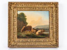 """Ommeganck; Balthazar Paul (1755 - 1826).<br><br>Öl auf Holz; """"Ziege und Schafe in hügeliger Flußland"""