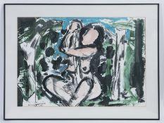 Szczesny; Stefan (*1951)<br><br>Mischtechnik auf Papier (1984); unter Glas mit Passepartout gerahmt.