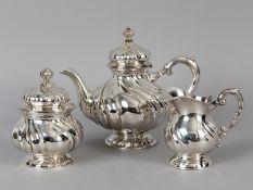 """Tee-Garnitur (3 Tle.) """"Dresdner Barock""""; Schwäbisch-Gmünd + Waldstetten; 20. Jh.<br><br>925/- und 80"""