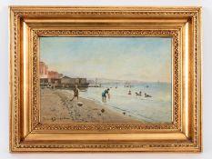 "Hvitfeldt-Jerichau; Holger (1861 - 1900).<br><br>Öl auf Holz; ""Sommerliche Strandszene an südlicher"