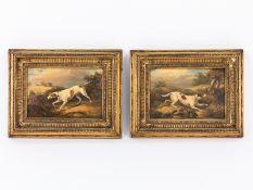 """Englischer Tiermaler 18./19. Jh.<br><br>Öl auf Holz; """"Jagdhunde in Staffagelandschaften ; im Vorderg"""