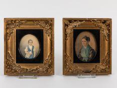 Portraitzeichner des Biedermeier (1831/ 1. Hälfte 19. Jh.).<br><br>Farbig aquarellierte und weiß geh