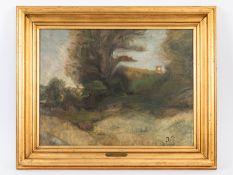 """Paulsen; Julius (1860 - 1940); zugeschrieben.<br><br>Öl auf Leinwand; """"Weg mit Bäumen und teils verd"""