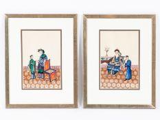 """Chinesischer Künstler des 19. Jahrhunderts.<br><br>Gouache Malerei auf Reispapier """"2 höfische Szenen"""