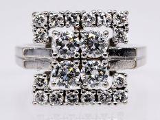 Ring mit 20 Brillanten; zusammen ca. 1;54 ct; 60- er Jahre.<br><br>585/- Weißgold. Gesamtgewicht ca.