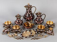22-tlg. Cloisonné-Kaffee-/ Mocca-Set für 6 Personen; Sowjetunion (Rußland); nach 1958.<br><br>916/-