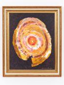 """Ackermann; Rudolf Werner (1908 - 1982).<br><br>Öl/Acryl auf Malkarton; """"Ovoid konzentrische Farbkomp"""
