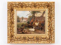 """Jutz; Carl d.Ä. (1838 - 1916).<br><br>Öl auf Holz; """"Hahn und Hühner mit Entenfamilie am Stallrand mi"""