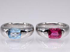 2 Bandringe mit jeweils einem Blautopas 2;50 ct und einem pinkfarbenem Turmalin 1;81 ct; Juwelier Ha