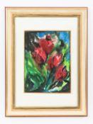"""Malskat; Lothar (1913 - 1988).<br><br>Aquarell auf Papier; """"Rote Blumen vor blauem Hintergrund""""; unt"""
