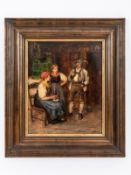 """Genremaler des 20. Jh. (Franz von Defregger (1835 - 1921) zugeschrieben).<br><br>Öl auf Holz; """"Alpen"""