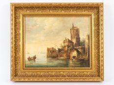 """Niederländischer Landschaftsmaler des späten 19. Jh. (bez. """"A. Hoft"""").<br><br>Öl auf Leinwand; """"Nied"""