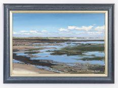 """Dobritz; Stefan (*1965).<br><br>Öl auf Leinwand; """"Nordfriesische Wattenmeer-Küstenlandschaft""""; in te"""