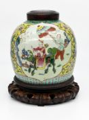 "Ingwertopf mit ""famille verte""-Malerei; China; wohl 18. Jh.<br><br>Porzellan mit polychromem Schmelz"