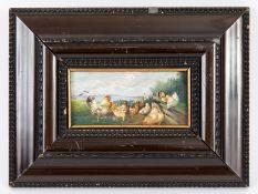 """Hänger; Max d.Ä. (1874 - 1941).<br><br>Öl auf Holz; """"Federvieh (Hahn mit 8 Hühnern an einem Zaun vor"""