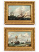 """Holländischer Marinemaler des 19. Jh. (bez. """"van Dören""""?).<br><br>Öl auf Leinwand; Paar Gegenstücke"""