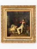 """von Rustige; Heinrich Franz Gaudenz (1810 - 1900).<br><br>Öl auf Leinwand; """" Der alte Soldat""""; 1832;"""