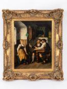 """Ostersetzer; Carl (1865 - 1914).<br><br>Öl auf Leinwand; """"Alpenländisches Interieur mit Genreszene"""";"""
