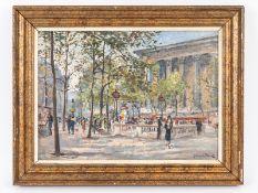 """Binet; Georges (1865 - 1949).<br><br>Öl auf Leinwand; """"Boulevard Szene in Paris""""; belebte Straßen Sz"""