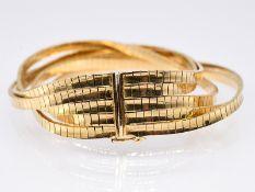 5-reihiges Armband; Italien; 60- er Jahre.<br><br>750/- Gelbgold. Gesamtgewicht ca. 59;6 g. 5-reihig