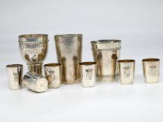9-tlg. Konvolut Silberbecher; Deutschland; 20. Jahrhundert.<br><br>800/- Silber; bestehend aus: 5 Sc