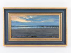 """Dobritz; Stefan (*1965).<br><br>Öl auf Leinwand; """"Sonnenuntergang am Meer""""; farblich ausdrucksvolle"""
