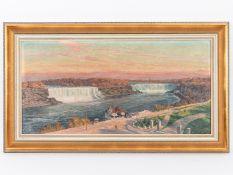 """de Bruycker; Richard (1884 - 1948).<br><br>Öl auf Leinwand; """"Niagarafälle in der Abendstimmung""""; 192"""
