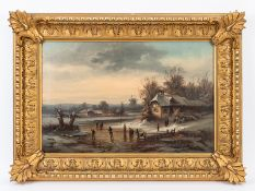 """Landschaftsmaler des 19. Jh. (im Stil Anton Dolls; 1826 - 1887).<br><br>Öl auf Leinwand; """"Eisvergnüg"""