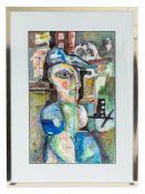 """Gamboa; Manuel (1925 - 2020).<br><br>""""Kubistische Figur in abstrakter Komposition""""; Öl auf Papier/Mi"""