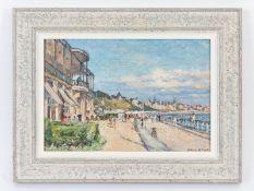 """Binet; Georges  (1865 - 1949).<br><br>Öl auf Karton; """"Auf der Promanade; Le Havre""""; sommerlich-heite"""