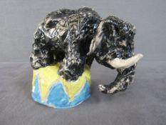 Vintage Keramikfigur farbig lasiert unterseits gemarkt Elefant 19cm hoch