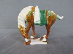 Keramikpferd Pressmarke farbig lasiert Höhe:17cm