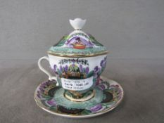 Teetasse Rußland handbemalt Gesamthöhe:13,5cm Durchmesser Teller:15cm
