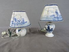 Zwei Tischlampen Delft 21cm hoch