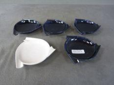 Konvolut von 5 Stapelaschenbechern gemarkt lasierte Keramik Durchmesser 16cm