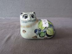Keramikfigur Katze unterseits signiert Tonala 12,5cm lang