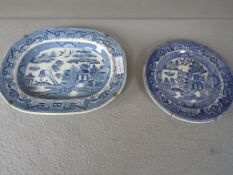 Zwei antike asiatische Teller ca.24x32x25cm