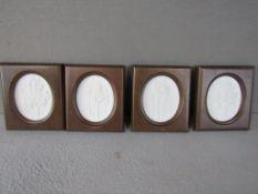 Vier Meissen Plaketten im Holzrahmen limitierte Auflage die Birke, die Kiefer, die Tanne und die Eic